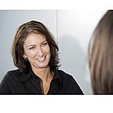 Woman, Smiling, Meeting & Conversation
