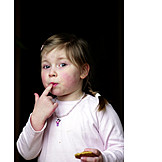 Child, Girl, Eating, Anxious, Licking, Sweets, Tasting, Index Finger