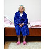 Senior, Pensive, Bedroom, Nursing home