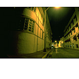 Human deserted, Darkness, Row houses, Street, Spooky