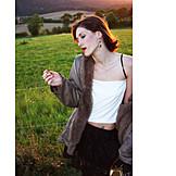 Young woman, Smoking