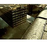 Reflection, Urban, Puddle
