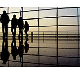 Silhouette, Walking, 4 persons