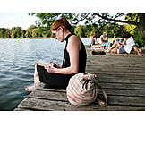 Young woman, Relaxation & recreation, Summer, Reading