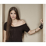Young woman, Woman, Long hair, Portrait