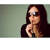 Young woman, Woman, Drinking, Sunglasses
