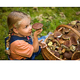Girl, Collecting, Smelling, Mushroom season