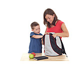 Boy, Mother, Son, School bag, Pack