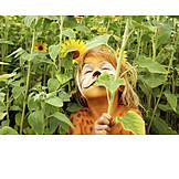 Girl, Sunflower, Wild cat, Bodypainting