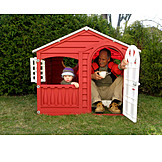 Grandson, Grandfather, Active Seniors, Playhouse