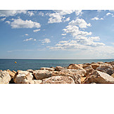 Horizon, Mediterranean sea, Stone beach