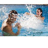 Couple, Fun & Happiness, Paddle, Swimming Pool