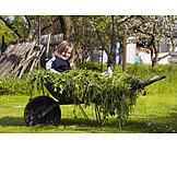 Girl, Farm, Wheelbarrow