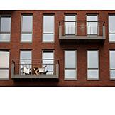 House, Balcony, Brick facade