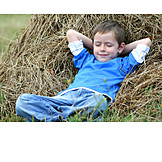 Boy, Child, Haystack