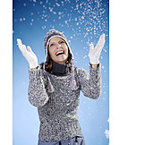Young Woman, Woman, Enthusiastic, Winter, Snowing