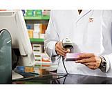 Bezahlen, Apotheke, Barcode Reader, Scan