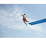 Boy, Jump, Swimming pool, Diving board