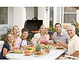 Familie, Grillparty, Zusammen, Gartenfest, Generation