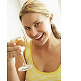 Young Woman, Indulgence & Consumption, White Wine, Toast