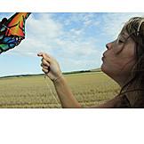 Woman, Kite, Blowing