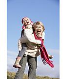 Fun & happiness, Family, Piggyback, Walk
