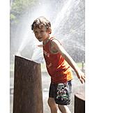 Boy, Paddle, Water splashes, Refresh