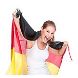 Young woman, Soccer fan, German fans