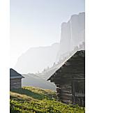 Dolomites, Wooden cabin, Val gardena