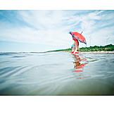 Young woman, Bathing, Parasol