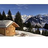 Winter landscape, Wooden cabin
