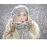 Young woman, Winter, Snow, Blowing