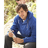 Young man, Thermos flask, Outdoor