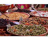 Market stall, Mediterranean cuisine, Olives