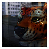 Animal figure, Window glass, Leopard