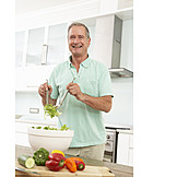 Man, Cooking, Salad, Preparation