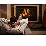 Man, Domestic life, Comfortable, Fireplace