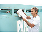 Man, Waste separation, Recycled paper, Wastepaper container