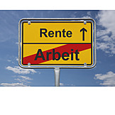 Work, Footpath Sign, Pension