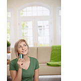 Young woman, Credit card, Home shopping