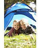 Boy, Girl, Camping, Holiday camp