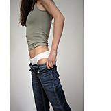 Female, Jeans, Slim, Getting dressed