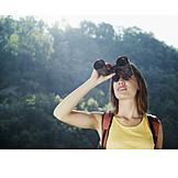Young woman, Watching, Binoculars, Hiker
