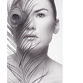 Beauty & Cosmetics, Young Woman, Beauty Culture, Peacock Feather