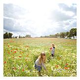 Boy, Girl, Summer, Flower meadow, Pick