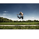Young man, Vitality, Jumping