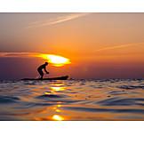 Sunset, Silhouette, Caribbean, Paddling