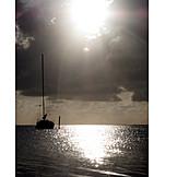 Backlighting, Sea, Sailboat