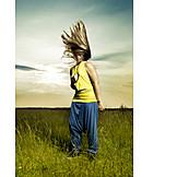 Junge Frau, Individualität & Einzigartigkeit, Wehende Haare