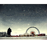 Reflection, Funfair, Ferris wheel, Puddle, Carnival